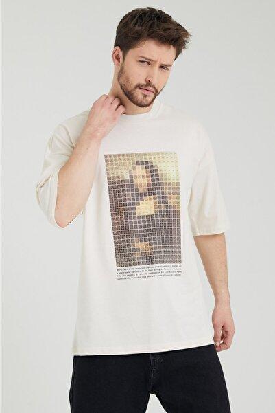 BREEZY Unisex Oversize Baskılı Krem Rengi Tişört Mona Lisa