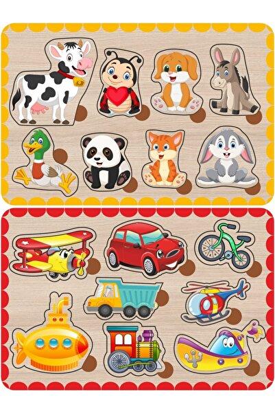 Baskı Atölyesi Sevimli Hayvanlar Ve Taşıtlar Bul-tak Ahşap Puzzle