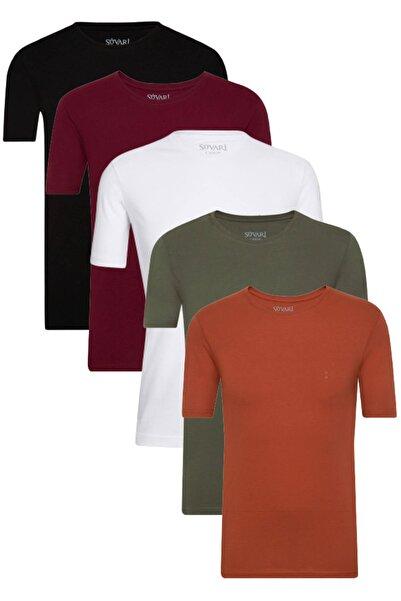 SÜVARİ Siyah-beyaz-bordo-haki-kiremit Pamuk Basic Fit Yuvarlak Yaka Tshirt 5li