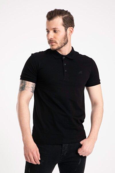 GİYSA Erkek Siyah Pamuk Polo Yaka T Shirt 2061-4613