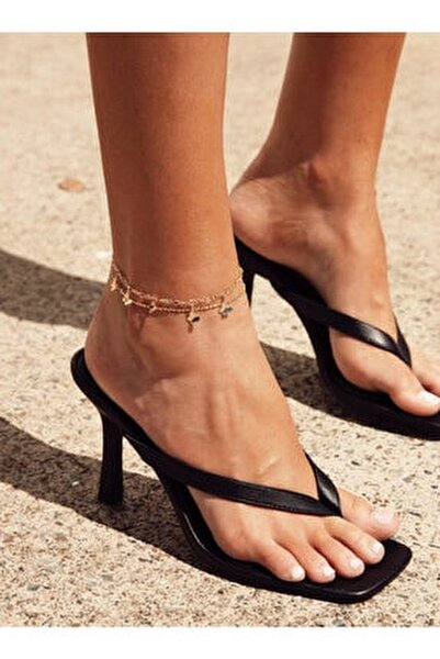 Kadın Siyah 10cm Topuklu Küt Kare Burunlu Parmak Arası Stiletto Ayakkabı Terlik Sandalet