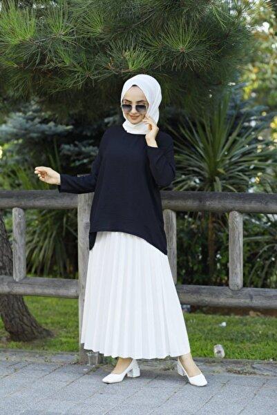 modabirsen Kadın Siyah Ayrobin Kumaş Salaş Blüz