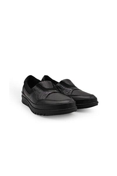 King Kadın Siyah Hakiki Deri Günlük Ayakkabı