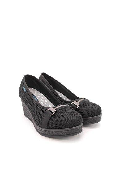 King Kadın Siyah Keten Tokalı Ayakkabı