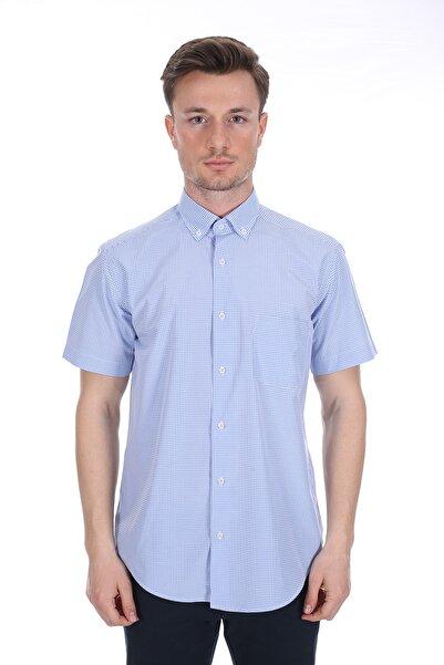 Diandor Erkek Mavi Kısa Kollu Gömlek