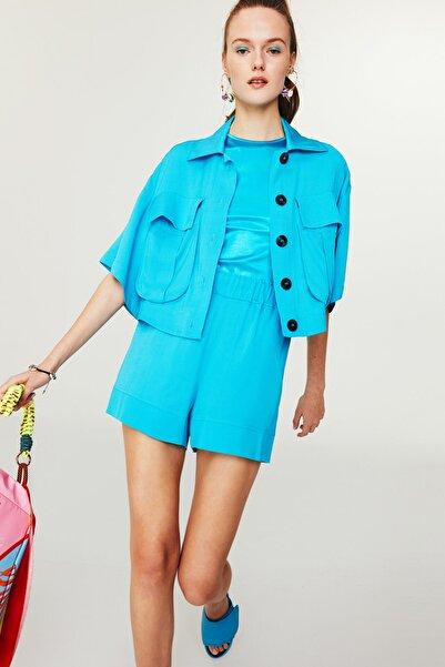 Twist Kadın Mavi Crop Gömlek Ceket TS1210005074089