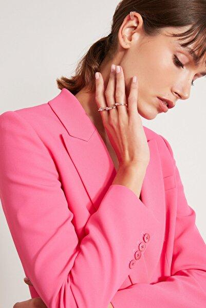 İpekyol Kadın Pembe Kristal Taş Tokalı Çoklu Yüzük IS1210060038