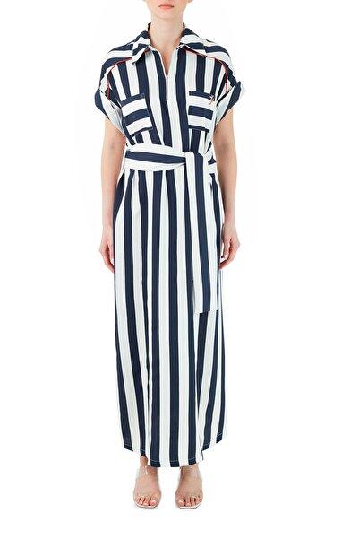 Ruck & Maul Kadın Pamuklu Çizgili Gömlek Yaka Yırtmaçlı Uzun Elbise Rmw19000704