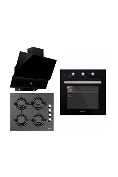 KUMTEL 3lü Ankastre Set Turbo Fanlı Siyah Cam