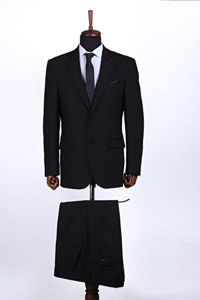 SAĞDIÇ Erkek Siyah 4 Drop Klasik Armürlü Takım Elbise