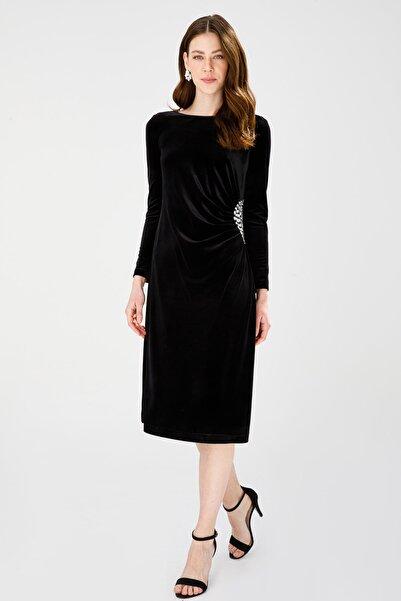 Ekol Taş Işlemeli Kadife Elbise