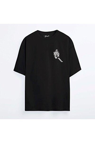 Shout Unisex Siyah Oversize Mushroom Skull Oldschool T-shirt