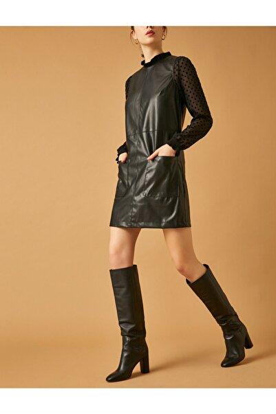 Koton Kadın Deri Görünümlü Elbise
