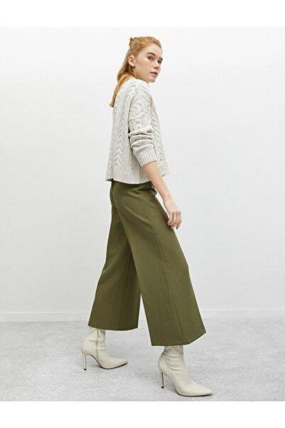 Koton Kadın Fermuar Detaylı Yeşil Pantolon