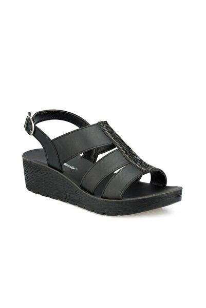 Polaris Kadın Siyah Simli Dolgu Topuklu Sandalet