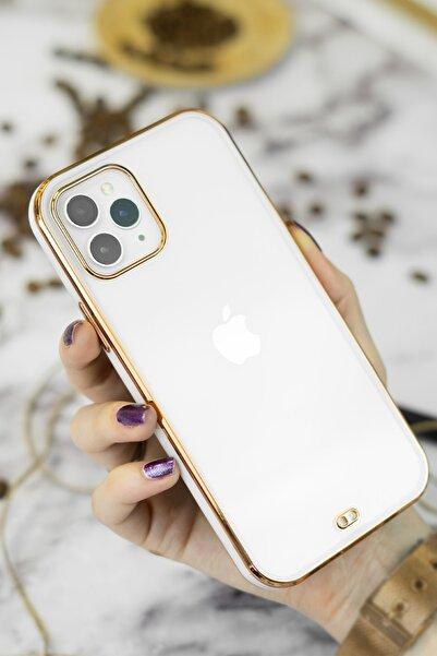 Spoyi Iphone 11 Pro Max Beyaz Gold Kenarlı Liva Telefon Kılıfı