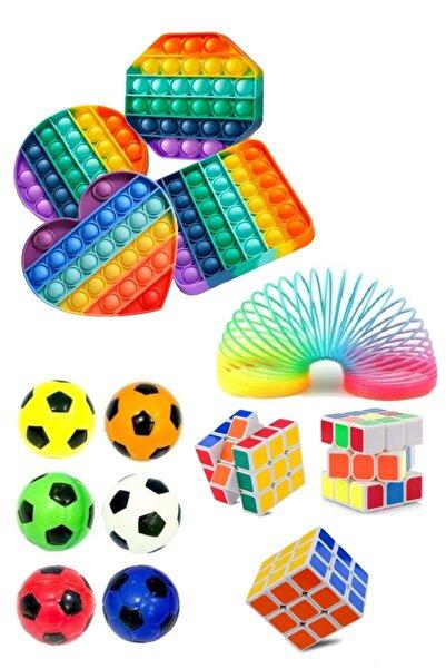 Ayver Stres Giderici Set 1 Popit 1 Rubik Zeka Küpü 1 Stres Yayı 1 Stres Topu
