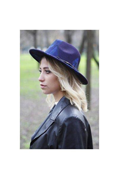Bay Şapkacı Desenli Kadın Lacivert Fötr Şapka 7185