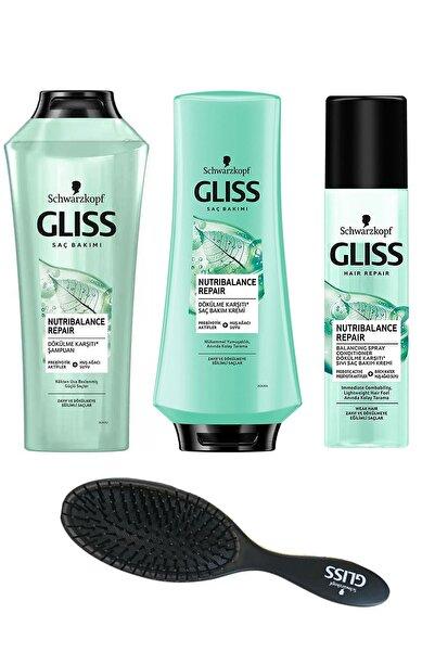 Gliss Nutribalance Dökülme Karşıtı Sıvı Saç Kremi 200 Ml+krem 360 Ml+şampuan 500 Ml+ Tarak