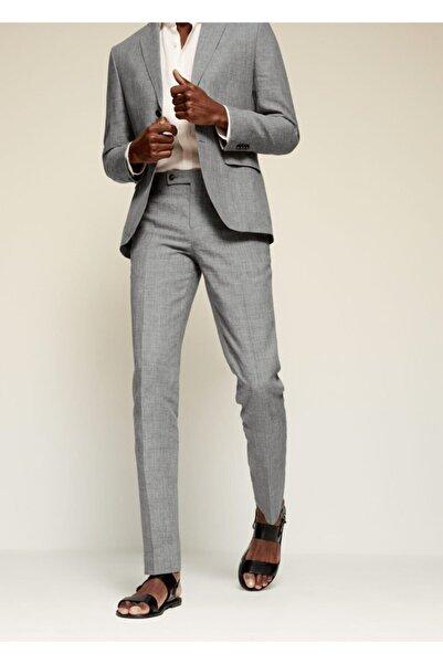 MANGO Man Erkek Gri Dar Kesimli Keten Takım Pantolon