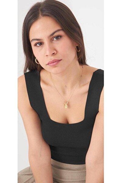 bubutik Kadın Siyah Kare Yaka Crop Bluz Esnek Triko