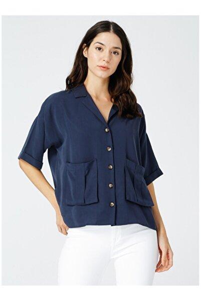 Fabrika Kadın Lacivert Kısa Gömlek