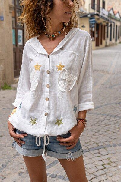 Güneşkızı Kadın Ekru Yıkamalı Keten Fileli Yıldız Pullu Kapüşonlu Bluz GK-RSD2046