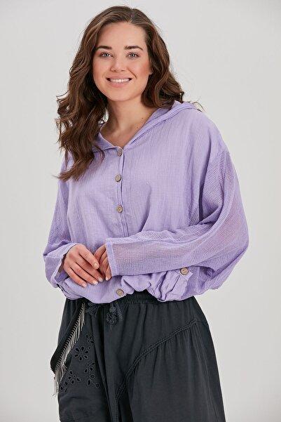 Y-London Kadın Lila Kapüşonlu Ceket YL-CE99988