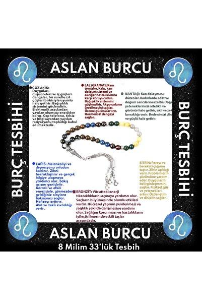 OSMANLI DOĞAL TAŞ Aslan Burcu 33'lük Tesbih Kan Taşı-lal-göz Akik-lapis-sitrin-bronzit
