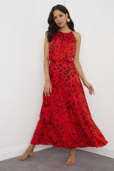Cool & Sexy Kadın Kırmızı Halter Yaka Maxi Elbise BK1151