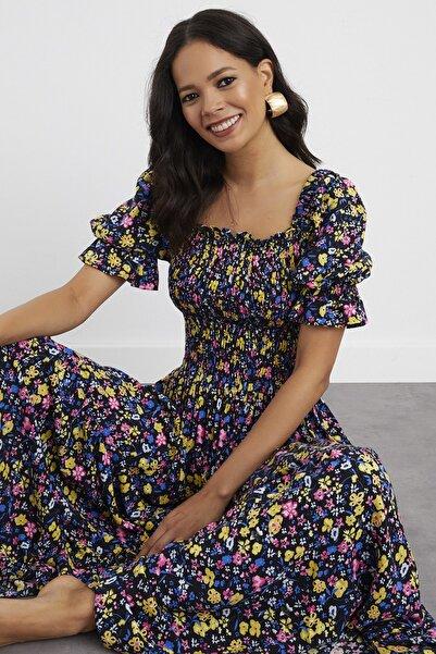 Cool & Sexy Kadın Siyah-Sarı Kare Yaka Gipeli Maxi Elbise BK1152