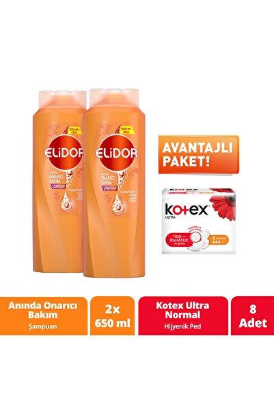 Elidor Anında Onarıcı Bakım Şampuan 650 ml X2 8'li Kotex Normal