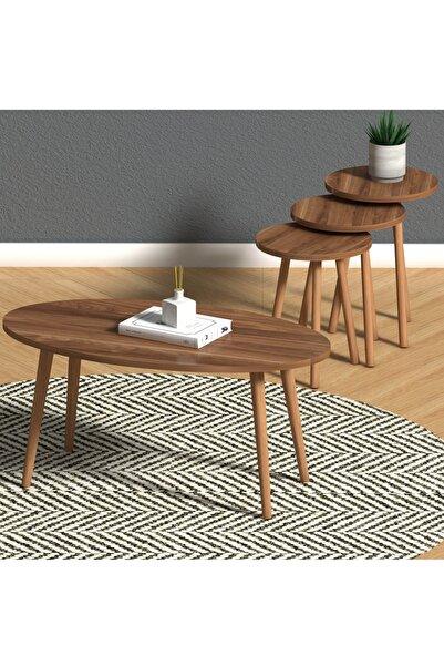 Monte Sehpa Elips Salon Seti Ceviz- Orta Sehpa Ve Zigon Sehpa