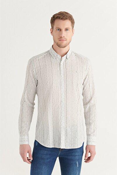 Avva Erkek Haki Baskılı Alttan Britli Yaka Comfort Fit Vual Gömlek A11y2168
