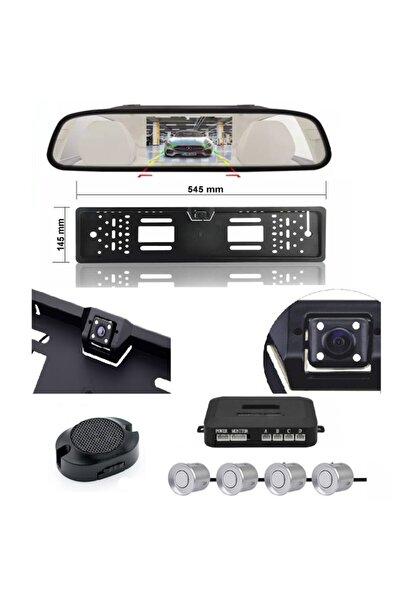 Mfk Kameralı Park Sensörü 4.3  Ayna Ekranlı Gri Sensör Plaka Kamera Full Set