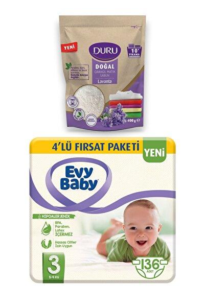 Evy Baby Bebek Bezi 3 Beden Midi 4'lü Fırsat 136 Adet Granül Sabun 400gr Hediyeli