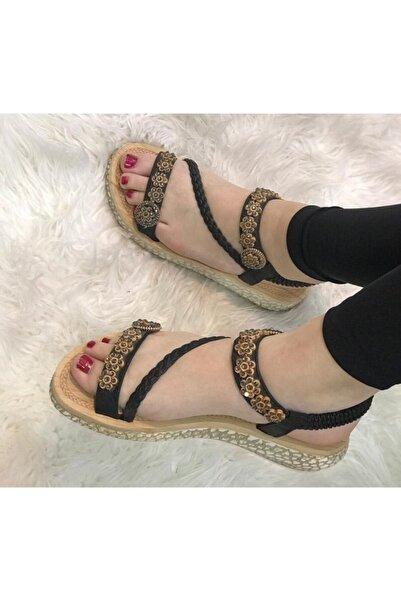 Guja Kadın Siyah Taşlı Yazlık Ortopedik Yumuşak Taban Sandalet
