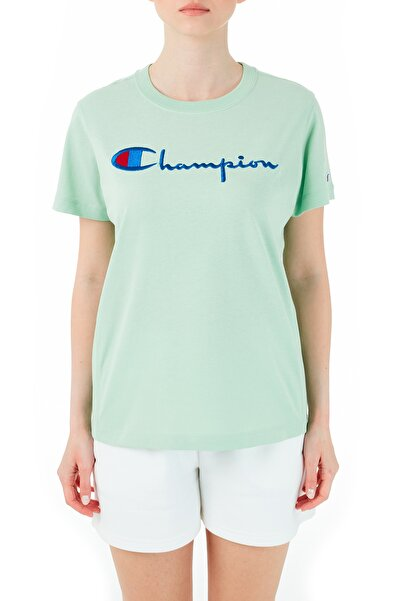 Champion Kadın Logo Baskılı Bisiklet Yaka Pamuk T Shirt -110992 Hml Gs068