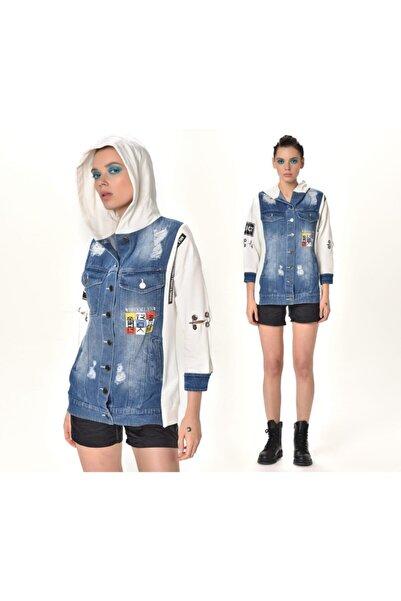 HaticeS Kadın 2040 Kapşonlu,baskılı,kolları Kuşgözü Detaylı,lazer Eskitmeli, Denim Kot Ceket.