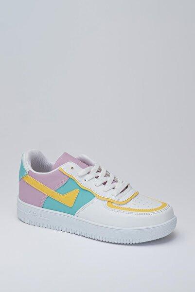 MUGGO Unisex Beyaz Sarı Sneaker