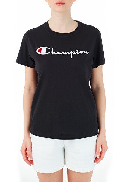 Champion Kadın Siyah Logo Baskılı Bisiklet Yaka T Shirt 110992 Nbk Kk001