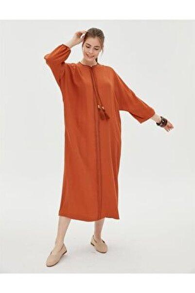 Kadın Kiremit Uzun Kol Trençkot
