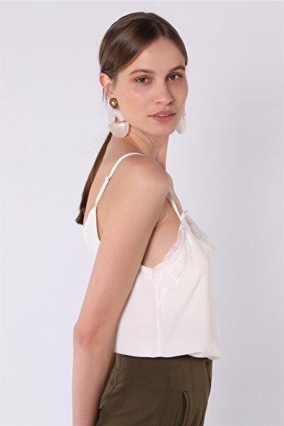 NATUREL Kadın Ekru Dantelli Ip Askılı Bluz