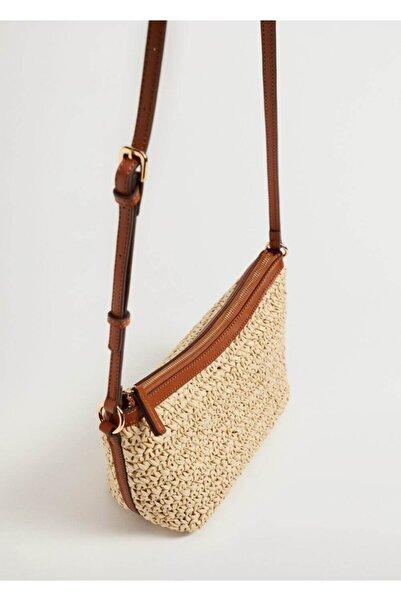 MANGO Woman Hasır Örülü Çanta
