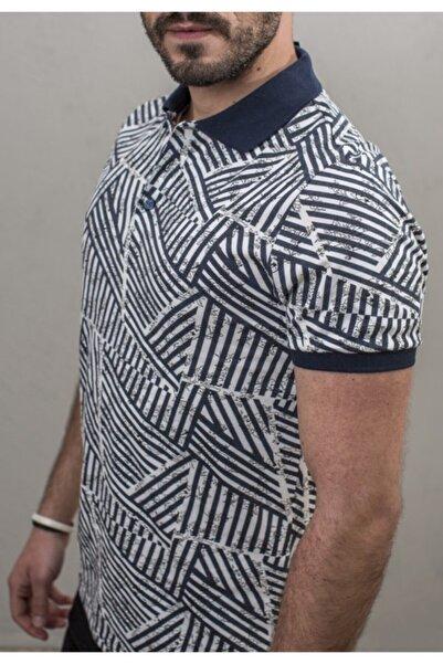 Fabrika Erkek Mavi Desenli Polo Yaka T-shirt