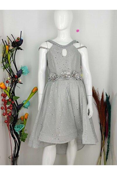 Babooni Kız Çocuk Gri Abiye Elbise 7-15 Yaş
