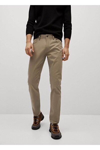 MANGO Man Erkek Bej Dar Kesim Denim Görünümlü Serj Pantolon