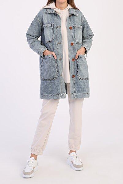 ALLDAY Kadın Mavi  Dört Cepli Denim Ceket