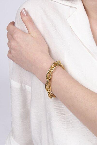 Marjin Kadın Altın Renkli Iç Içe Geçmiş Zincir Bileklikaltın