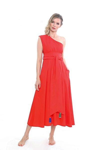 Ayşe Brav Kırmızı Tek Omuz Kuşaklı Elbise